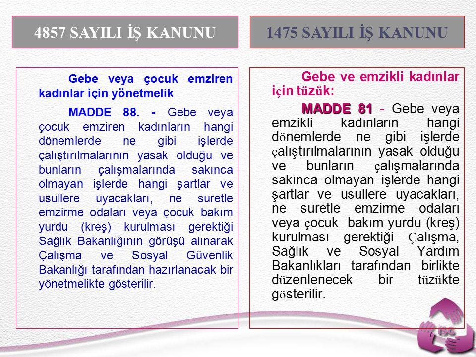 Tel: +90 (312) 215 50 21 Faks: +90 (312) 215 50 28 e-posta: isggm@csgb.gov.tr http://isggm.calisma.gov.tr Gebe veya çocuk emziren kadınlar için yönetmelik MADDE 88.