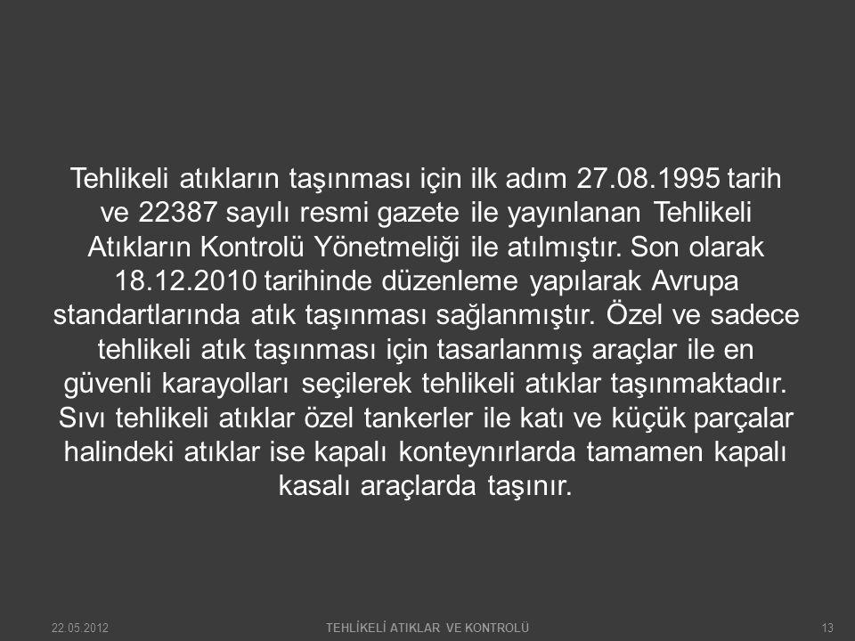 Tehlikeli atıkların taşınması için ilk adım 27.08.1995 tarih ve 22387 sayılı resmi gazete ile yayınlanan Tehlikeli Atıkların Kontrolü Yönetmeliği ile atılmıştır.