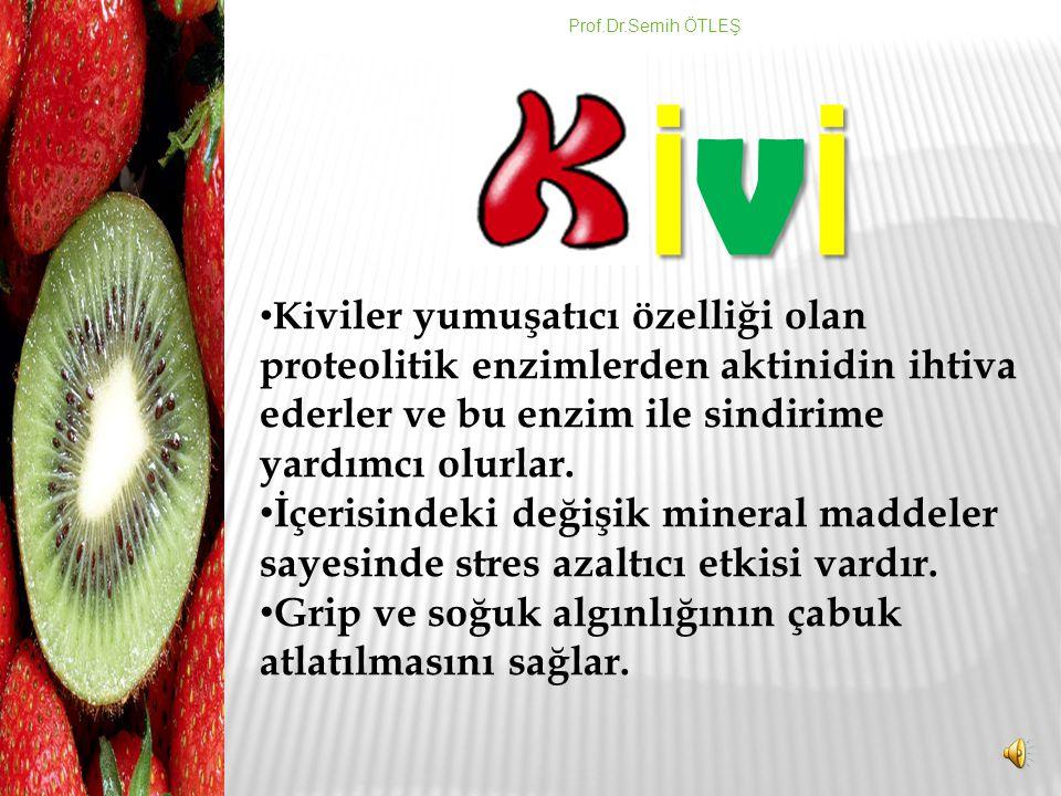 Kivi meyvesi folik asit, potasyum, krom ve E vitamini yönünden zengindir. Bir kivi meyvesi günlük C vitamini ihtiyacını fazlasıyla karşılar. C vitamin