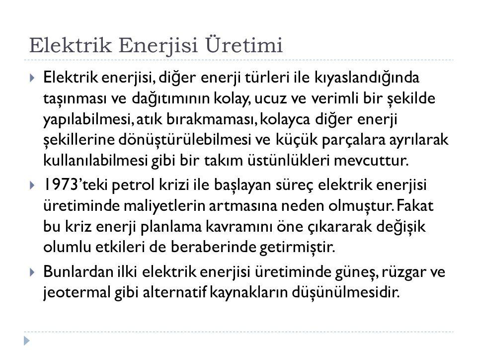 Elektrik Enerjisi Üretimi  Elektrik enerjisi, di ğ er enerji türleri ile kıyaslandı ğ ında taşınması ve da ğ ıtımının kolay, ucuz ve verimli bir şekilde yapılabilmesi, atık bırakmaması, kolayca di ğ er enerji şekillerine dönüştürülebilmesi ve küçük parçalara ayrılarak kullanılabilmesi gibi bir takım üstünlükleri mevcuttur.