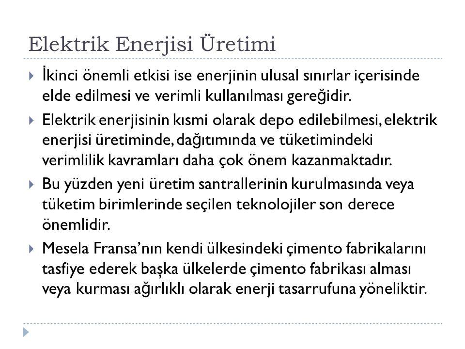 Elektrik Enerjisi Üretimi  İ kinci önemli etkisi ise enerjinin ulusal sınırlar içerisinde elde edilmesi ve verimli kullanılması gere ğ idir.  Elektr