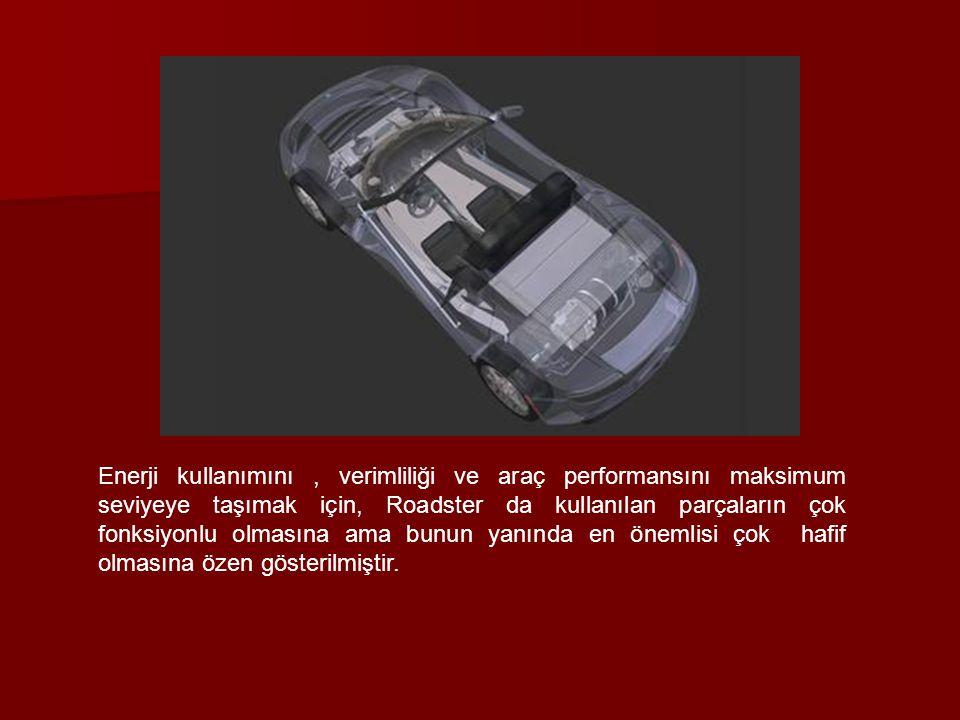 Enerji kullanımını, verimliliği ve araç performansını maksimum seviyeye taşımak için, Roadster da kullanılan parçaların çok fonksiyonlu olmasına ama b