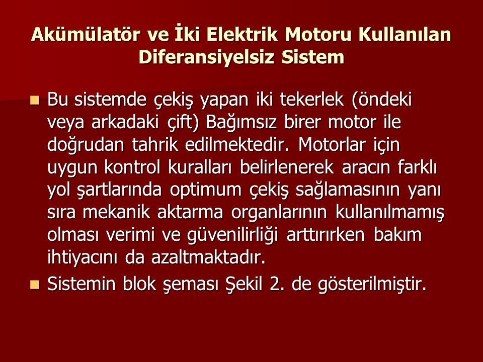 Akümülatör ve İki Elektrik Motoru Kullanılan Diferansiyelsiz Sistem Bu sistemde çekiş yapan iki tekerlek (öndeki veya arkadaki çift) Bağımsız birer mo