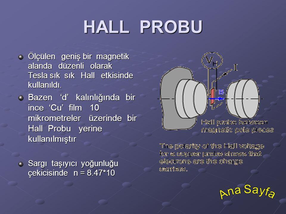 HALL PROBU Ölçülen geniş bir magnetik alanda düzenli olarak Tesla sık sık Hall etkisinde kullanıldı. Bazen 'd' kalınlığında bir ince 'Cu' film 10 mikr