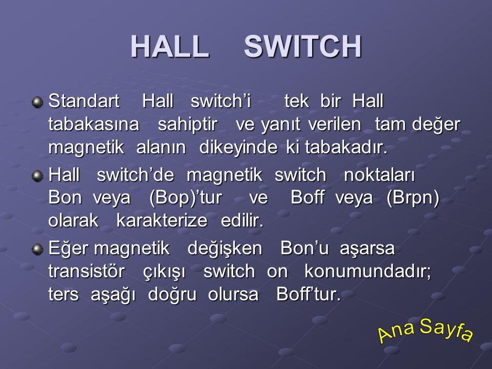 HALL SWITCH Standart Hall switch'i tek bir Hall tabakasına sahiptir ve yanıt verilen tam değer magnetik alanın dikeyinde ki tabakadır. Hall switch'de