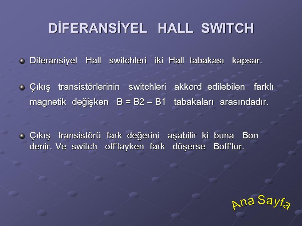 DİFERANSİYEL HALL SWITCH Diferansiyel Hall switchleri iki Hall tabakası kapsar. Çıkış transistörlerinin switchleri akkord edilebilen farklı magnetik d
