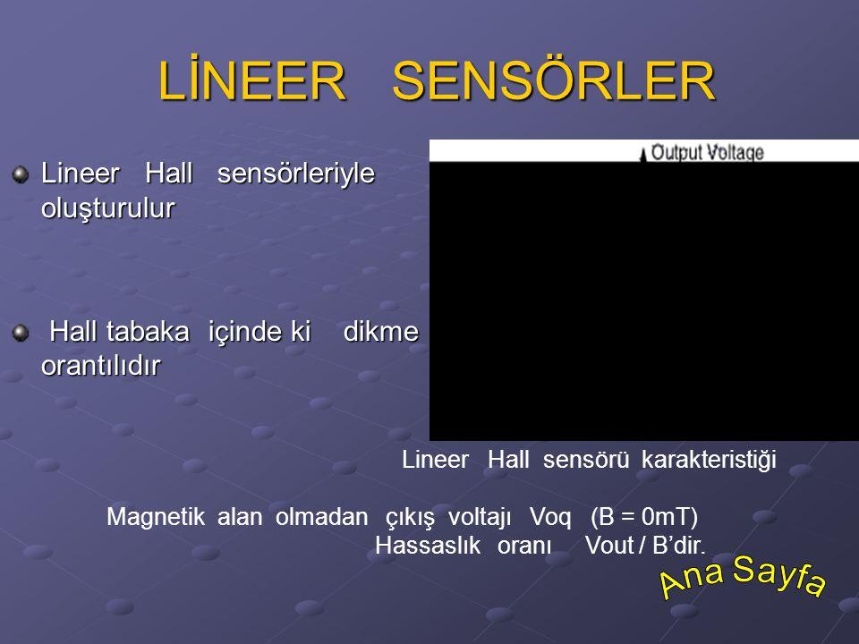 LİNEER SENSÖRLER LİNEER SENSÖRLER Lineer Hall sensörleriyle bir analog çıkış voltajı oluşturulur Hall tabaka içinde ki dikme magnetik değişkenle orant