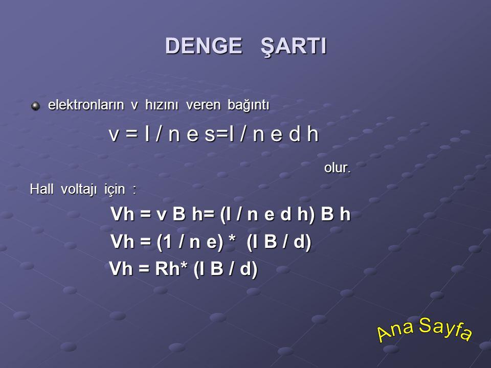 DENGE ŞARTI elektronların v hızını veren bağıntı v = I / n e s=I / n e d h v = I / n e s=I / n e d holur. Hall voltajı için : Vh = v B h= (I / n e d h