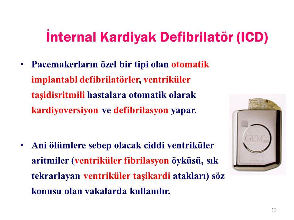 İnternal Kardiyak Defibrilatör (ICD) Pacemakerların özel bir tipi olan otomatik implantabl defibrilatörler, ventriküler taşidisritmili hastalara otomatik olarak kardiyoversiyon ve defibrilasyon yapar.