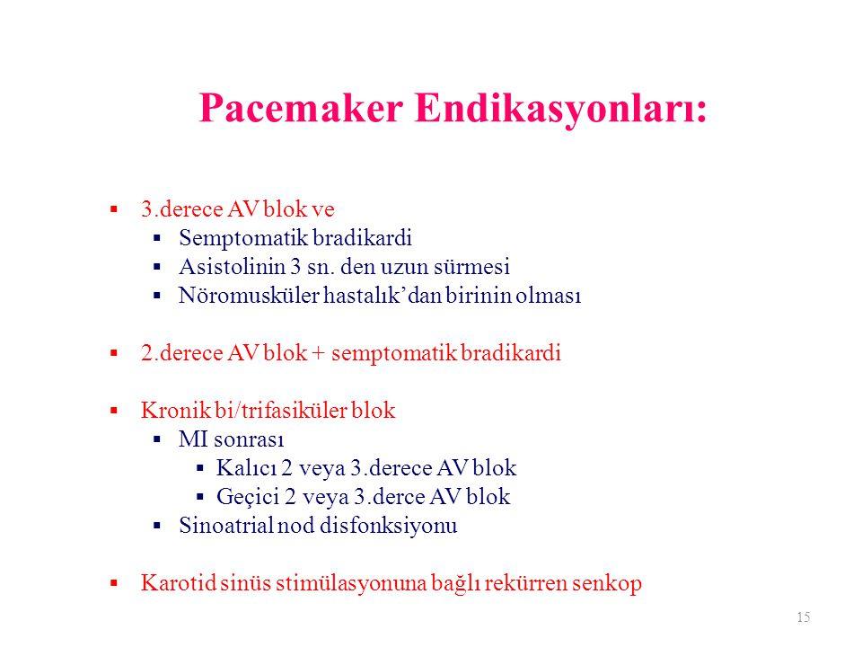 Pacemaker Endikasyonları:  3.derece AV blok ve  Semptomatik bradikardi  Asistolinin 3 sn. den uzun sürmesi  Nöromusküler hastalık'dan birinin olma