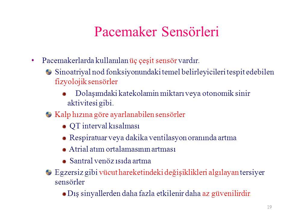 Pacemaker Sensörleri Pacemakerlarda kullanılan üç çeşit sensör vardır. Sinoatriyal nod fonksiyonundaki temel belirleyicileri tespit edebilen fizyoloji