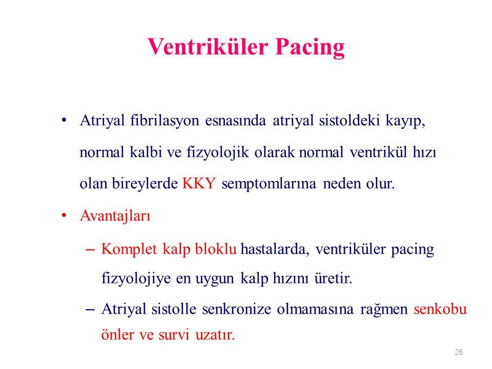 Ventriküler Pacing Atriyal fibrilasyon esnasında atriyal sistoldeki kayıp, normal kalbi ve fizyolojik olarak normal ventrikül hızı olan bireylerde KKY