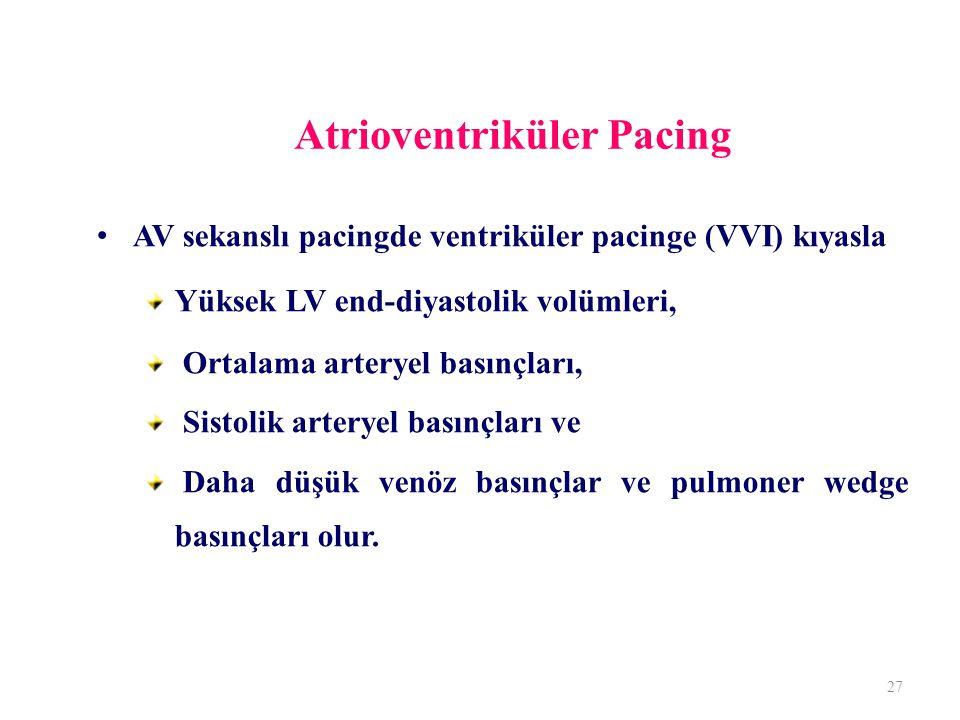 Atrioventriküler Pacing AV sekanslı pacingde ventriküler pacinge (VVI) kıyasla Yüksek LV end-diyastolik volümleri, Ortalama arteryel basınçları, Sistolik arteryel basınçları ve Daha düşük venöz basınçlar ve pulmoner wedge basınçları olur.
