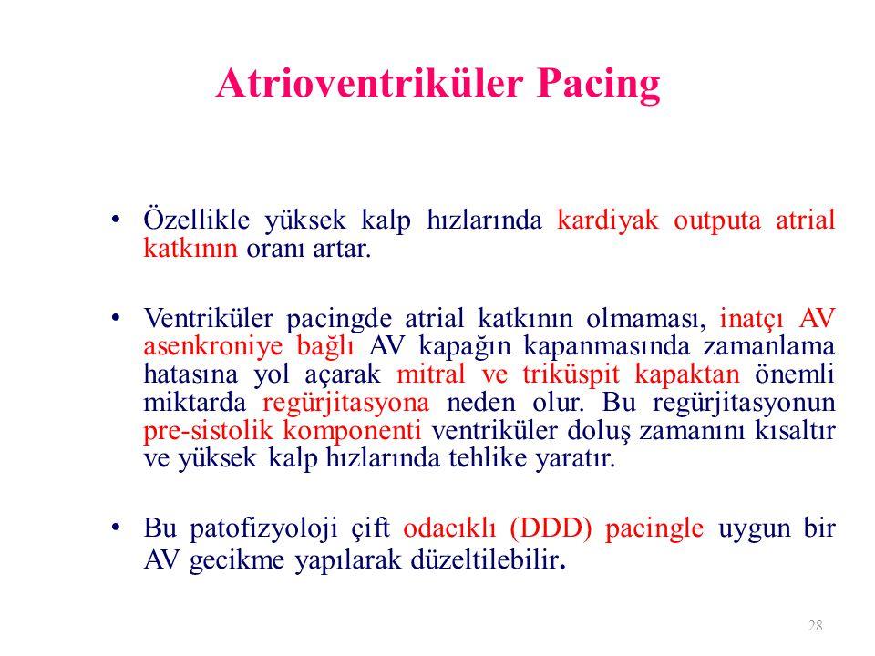 Atrioventriküler Pacing Özellikle yüksek kalp hızlarında kardiyak outputa atrial katkının oranı artar. Ventriküler pacingde atrial katkının olmaması,