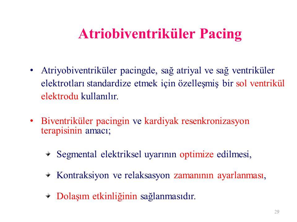 Atriobiventriküler Pacing Atriyobiventriküler pacingde, sağ atriyal ve sağ ventriküler elektrotları standardize etmek için özelleşmiş bir sol ventrikül elektrodu kullanılır.