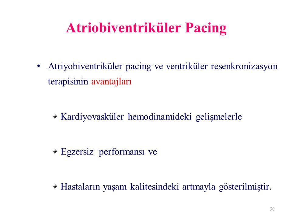 Atriobiventriküler Pacing Atriyobiventriküler pacing ve ventriküler resenkronizasyon terapisinin avantajları Kardiyovasküler hemodinamideki gelişmelerle Egzersiz performansı ve Hastaların yaşam kalitesindeki artmayla gösterilmiştir.