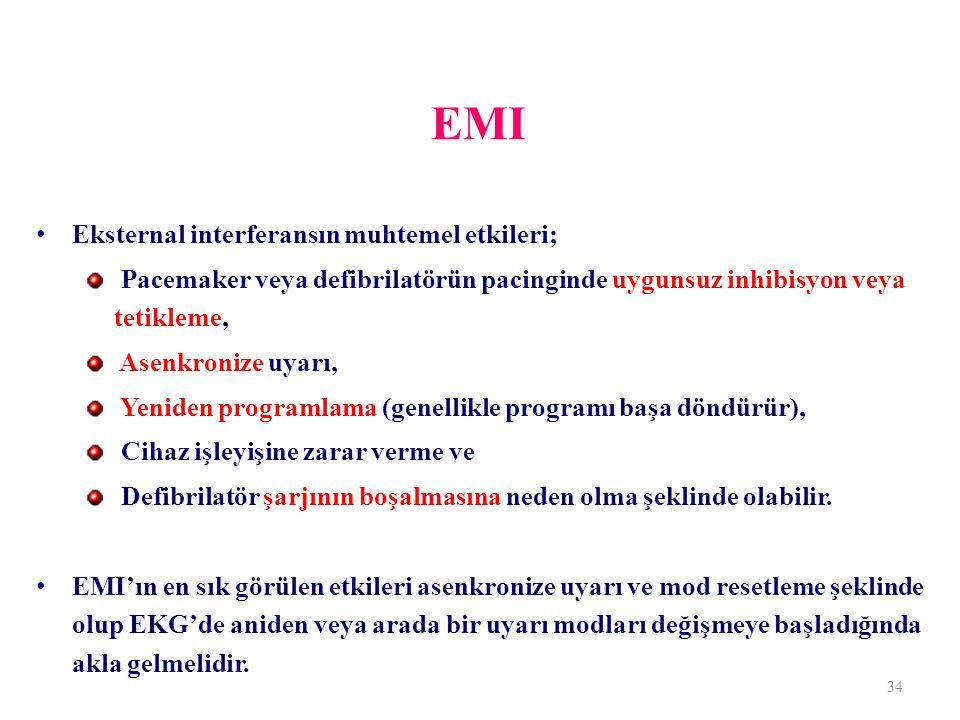 EMI Eksternal interferansın muhtemel etkileri; Pacemaker veya defibrilatörün pacinginde uygunsuz inhibisyon veya tetikleme, Asenkronize uyarı, Yeniden