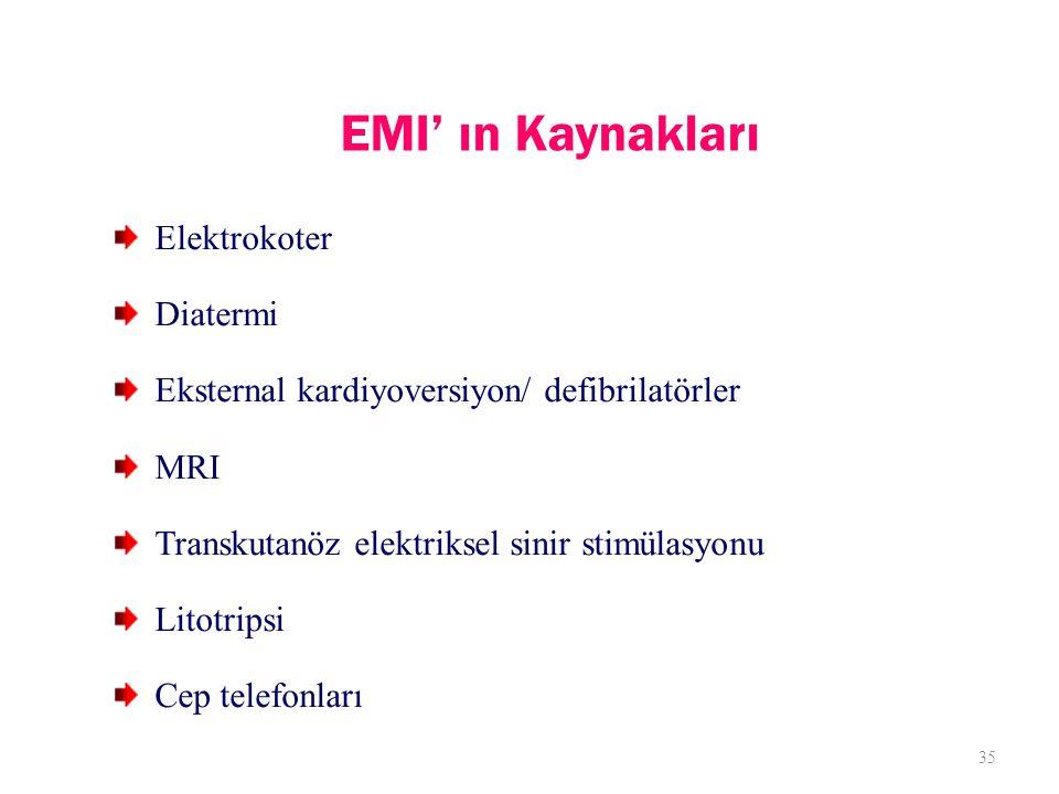 EMI' ın Kaynakları Elektrokoter Diatermi Eksternal kardiyoversiyon/ defibrilatörler MRI Transkutanöz elektriksel sinir stimülasyonu Litotripsi Cep telefonları 35