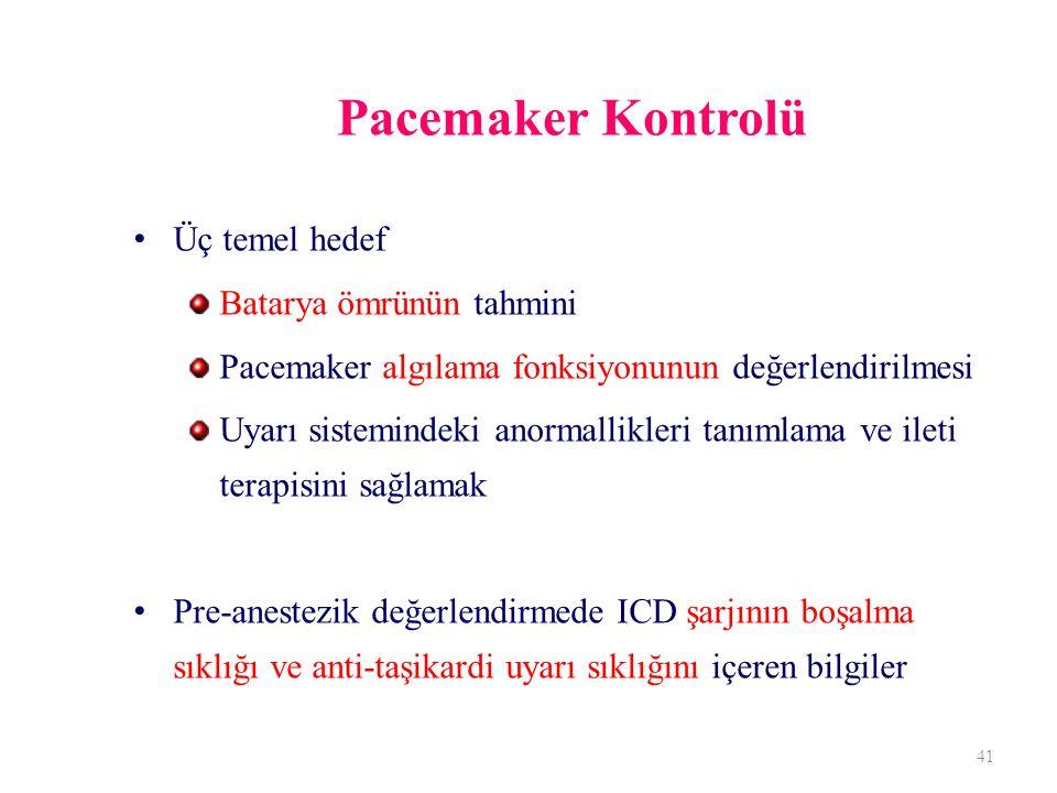 Pacemaker Kontrolü Üç temel hedef Batarya ömrünün tahmini Pacemaker algılama fonksiyonunun değerlendirilmesi Uyarı sistemindeki anormallikleri tanımlama ve ileti terapisini sağlamak Pre-anestezik değerlendirmede ICD şarjının boşalma sıklığı ve anti-taşikardi uyarı sıklığını içeren bilgiler 41