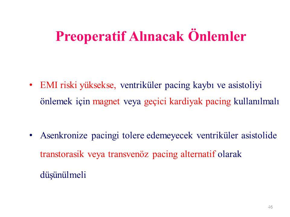 Preoperatif Alınacak Önlemler EMI riski yüksekse, ventriküler pacing kaybı ve asistoliyi önlemek için magnet veya geçici kardiyak pacing kullanılmalı