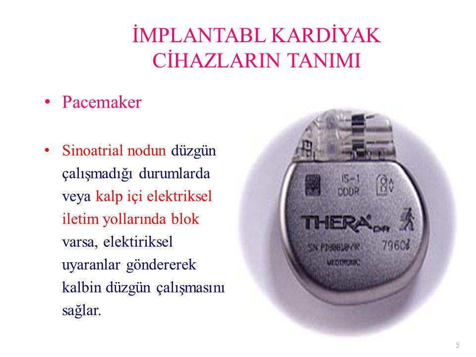 İMPLANTABL KARDİYAK CİHAZLARIN TANIMI Pacemaker Sinoatrial nodun düzgün çalışmadığı durumlarda veya kalp içi elektriksel iletim yollarında blok varsa,