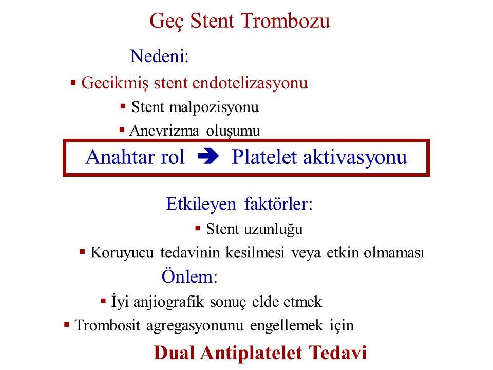 Geç Stent Trombozu Önlem:  İyi anjiografik sonuç elde etmek  Trombosit agregasyonunu engellemek için Dual Antiplatelet Tedavi Nedeni:  Gecikmiş ste