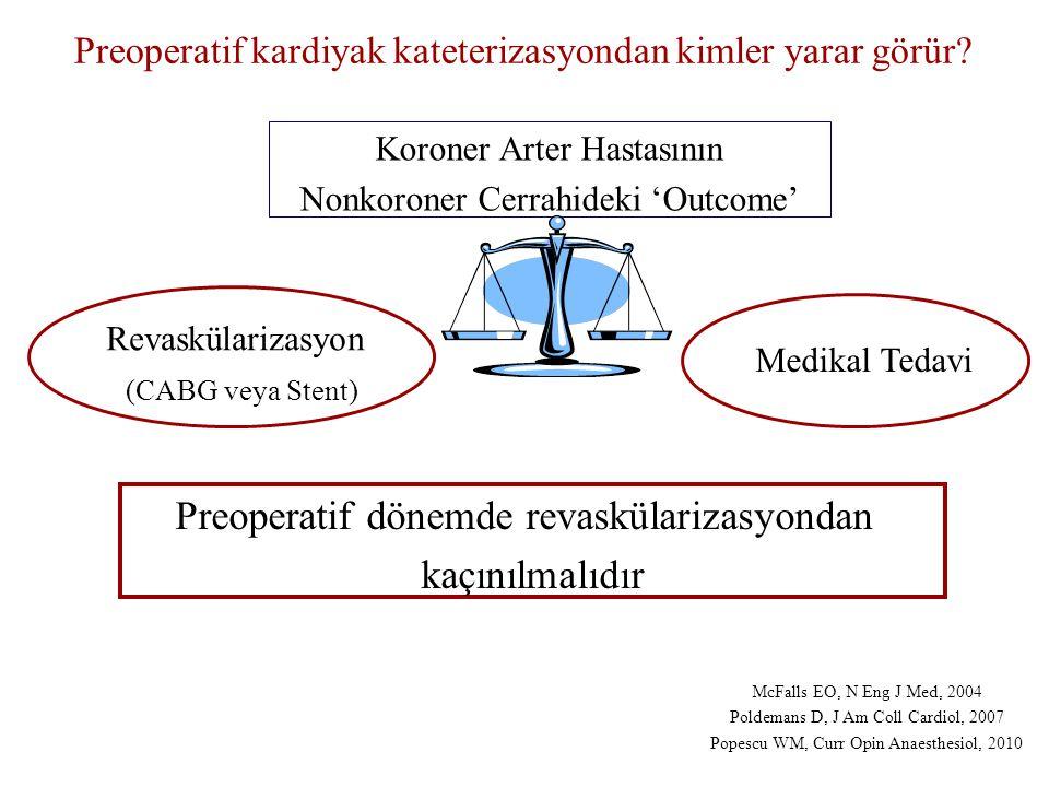 Revaskülarizasyon (CABG veya Stent) Medikal Tedavi Koroner Arter Hastasının Nonkoroner Cerrahideki 'Outcome' McFalls EO, N Eng J Med, 2004 Poldemans D