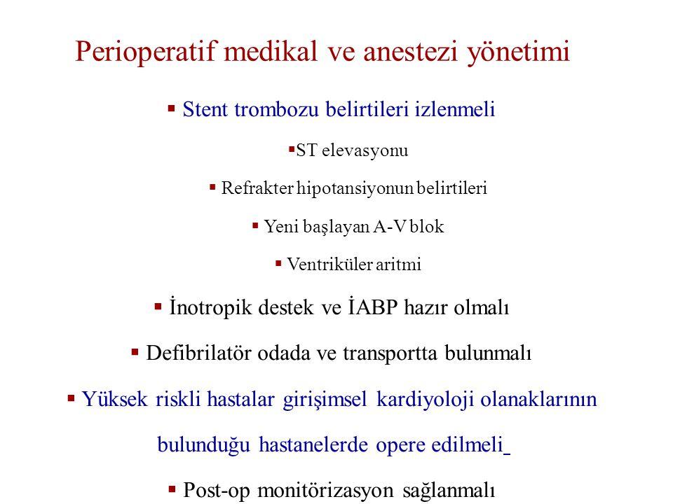  Stent trombozu belirtileri izlenmeli  ST elevasyonu  Refrakter hipotansiyonun belirtileri  Yeni başlayan A-V blok  Ventriküler aritmi  İnotropik destek ve İABP hazır olmalı  Defibrilatör odada ve transportta bulunmalı  Yüksek riskli hastalar girişimsel kardiyoloji olanaklarının bulunduğu hastanelerde opere edilmeli  Post-op monitörizasyon sağlanmalı Perioperatif medikal ve anestezi yönetimi