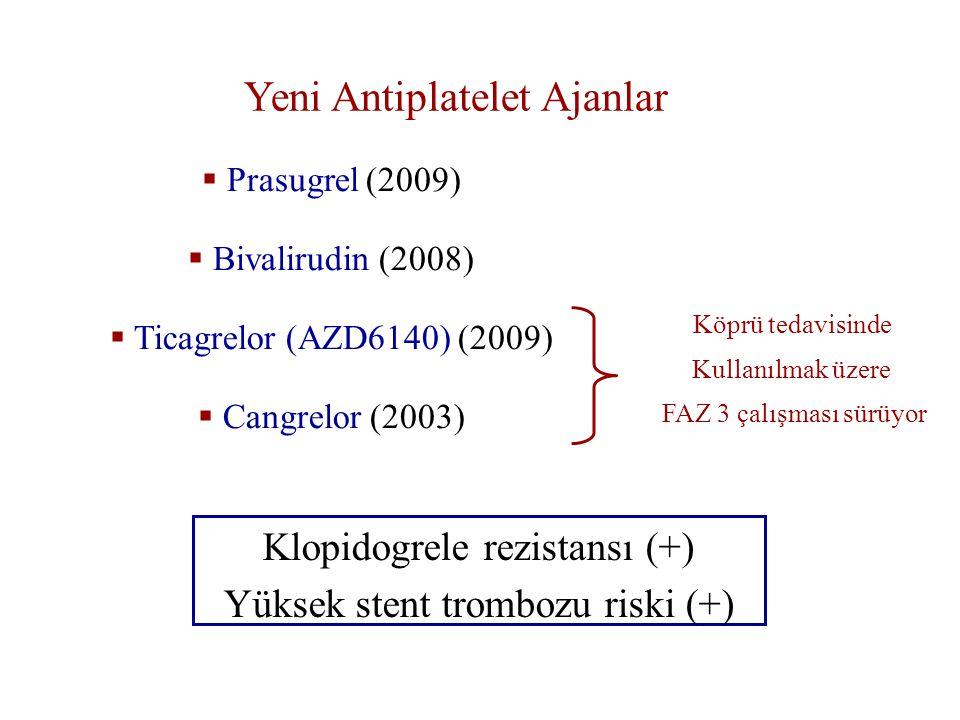 Yeni Antiplatelet Ajanlar  Prasugrel (2009)  Bivalirudin (2008)  Ticagrelor (AZD6140) (2009)  Cangrelor (2003) Köprü tedavisinde Kullanılmak üzere FAZ 3 çalışması sürüyor Klopidogrele rezistansı (+) Yüksek stent trombozu riski (+)