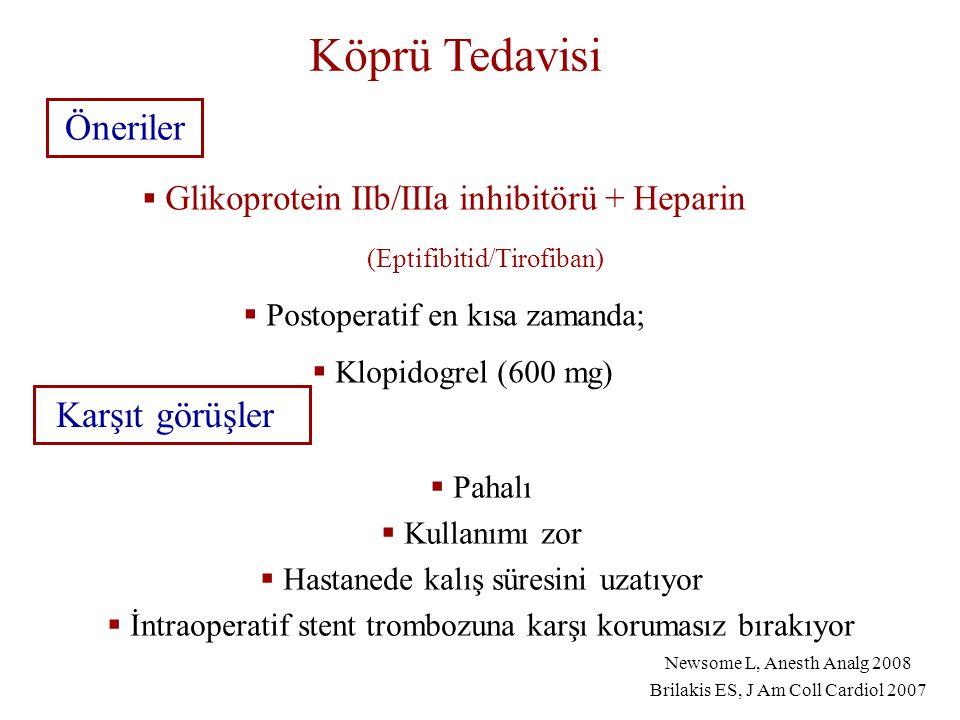 Köprü Tedavisi Karşıt görüşler  Pahalı  Kullanımı zor  Hastanede kalış süresini uzatıyor  İntraoperatif stent trombozuna karşı korumasız bırakıyor Öneriler  Glikoprotein IIb/IIIa inhibitörü + Heparin (Eptifibitid/Tirofiban)  Postoperatif en kısa zamanda;  Klopidogrel (600 mg) Newsome L, Anesth Analg 2008 Brilakis ES, J Am Coll Cardiol 2007