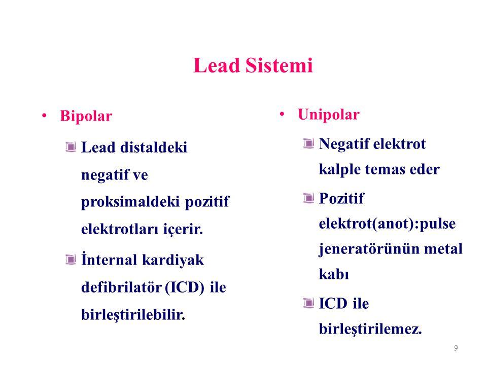 Lead Sistemi Bipolar Lead distaldeki negatif ve proksimaldeki pozitif elektrotları içerir. İnternal kardiyak defibrilatör (ICD) ile birleştirilebilir.