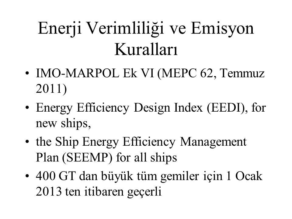 Enerji Verimliliği ve Emisyon Kuralları IMO-MARPOL Ek VI (MEPC 62, Temmuz 2011) Energy Efficiency Design Index (EEDI), for new ships, the Ship Energy Efficiency Management Plan (SEEMP) for all ships 400 GT dan büyük tüm gemiler için 1 Ocak 2013 ten itibaren geçerli