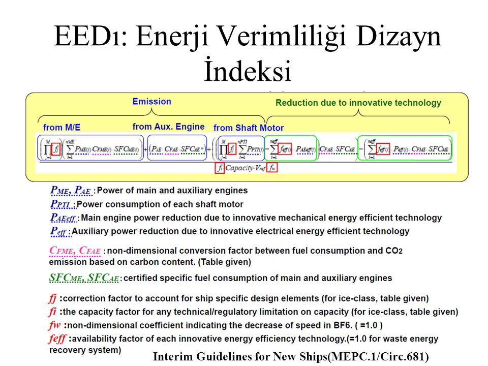 Interim Guidelines for New Ships(MEPC.1/Circ.681) EEDı: Enerji Verimliliği Dizayn İndeksi