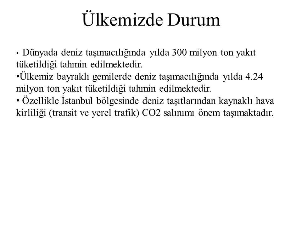 Türk Deniz Filosunun Durumu Dünyada deniz taşımacılığında yılda 300 milyon ton yakıt tüketildiği tahmin edilmektedir. Ülkemiz bayraklı gemilerde deniz