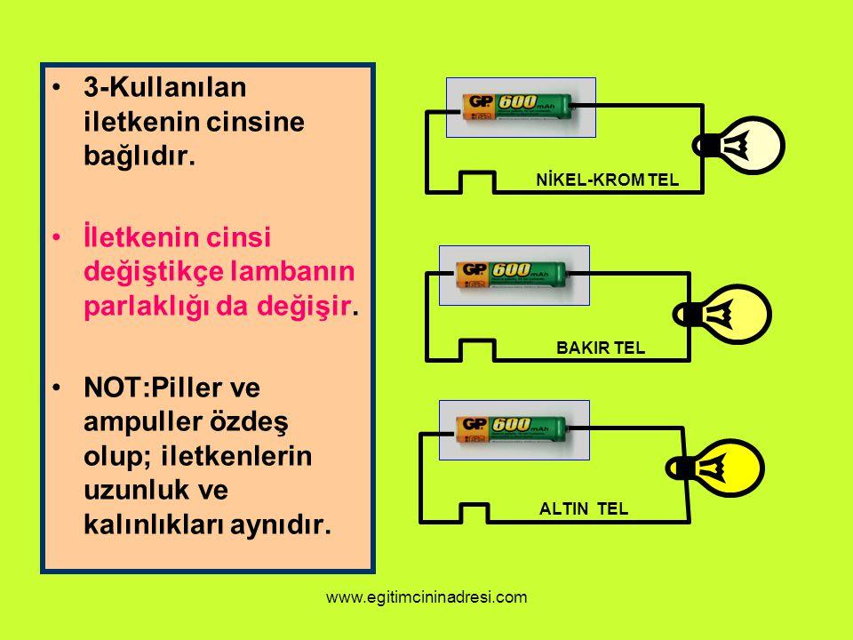 3-Kullanılan iletkenin cinsine bağlıdır. İletkenin cinsi değiştikçe lambanın parlaklığı da değişir. NOT:Piller ve ampuller özdeş olup; iletkenlerin uz