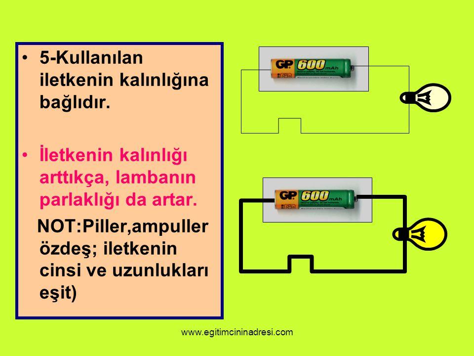 5-Kullanılan iletkenin kalınlığına bağlıdır. İletkenin kalınlığı arttıkça, lambanın parlaklığı da artar. NOT:Piller,ampuller özdeş; iletkenin cinsi ve