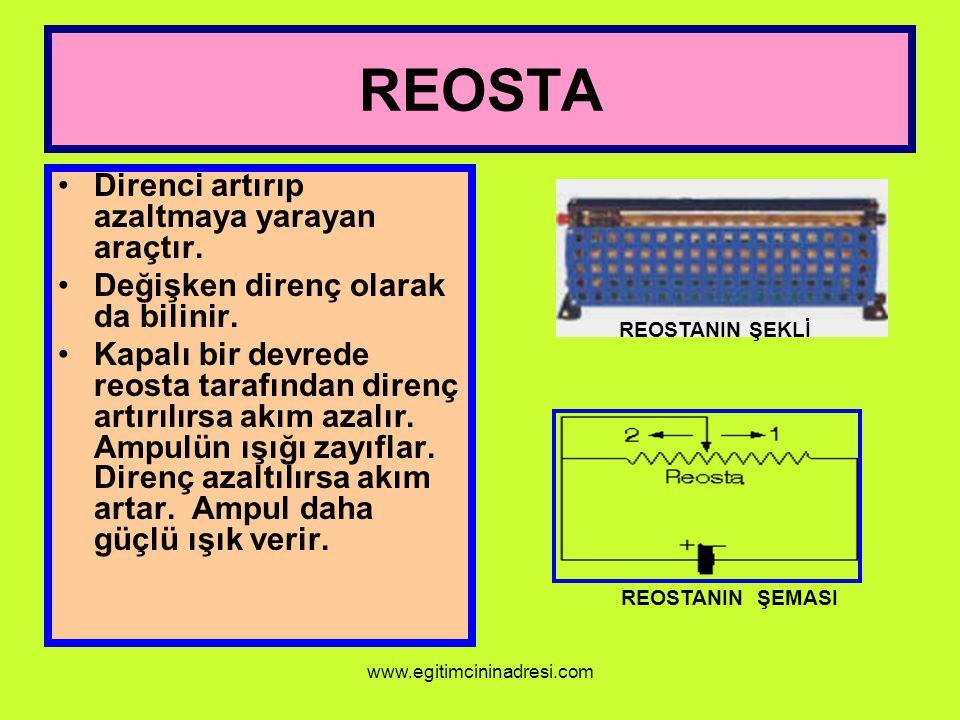 REOSTA Direnci artırıp azaltmaya yarayan araçtır. Değişken direnç olarak da bilinir. Kapalı bir devrede reosta tarafından direnç artırılırsa akım azal