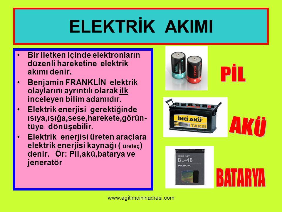 ELEKTRİK AKIMI Bir iletken içinde elektronların düzenli hareketine elektrik akımı denir. Benjamin FRANKLİN elektrik olaylarını ayrıntılı olarak ilk in