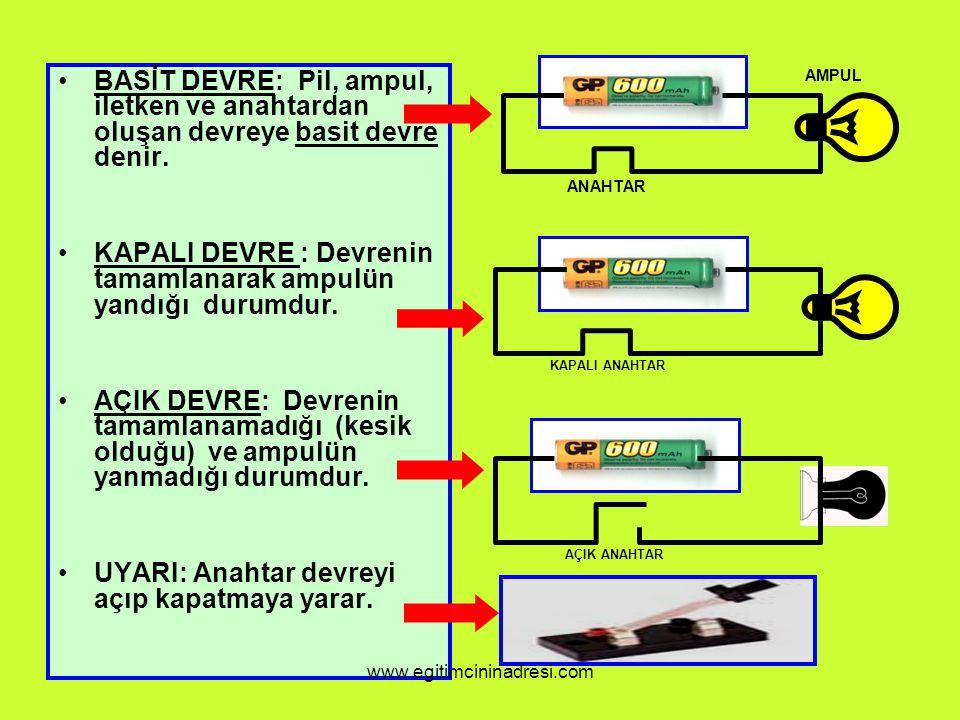 BASİT DEVRE: Pil, ampul, iletken ve anahtardan oluşan devreye basit devre denir. KAPALI DEVRE : Devrenin tamamlanarak ampulün yandığı durumdur. AÇIK D