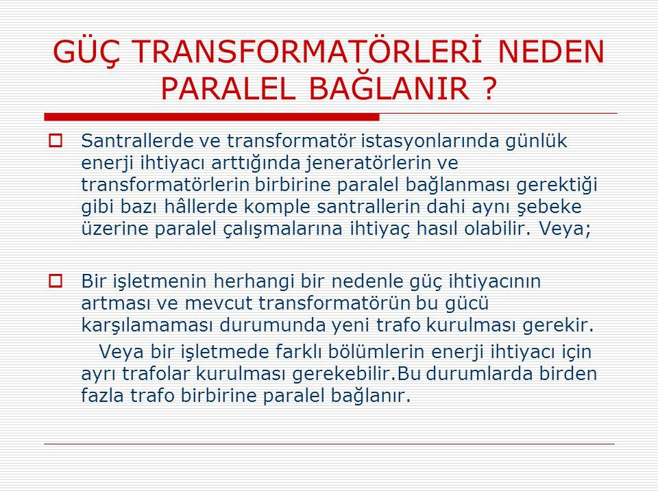 GÜÇ TRANSFORMATÖRLERİNİN PARALEL BAĞLAMA ŞARTLARI  Transformatörlerin paralel bağlanabilmeleri için bazı şartların olması gerekir.