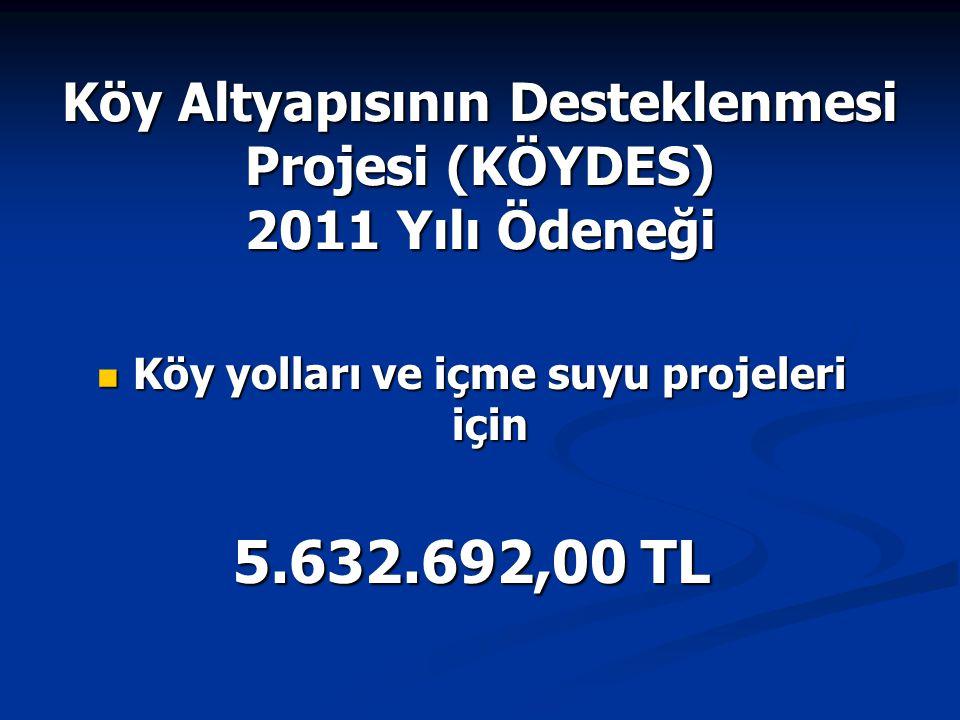 Köy Altyapısının Desteklenmesi Projesi (KÖYDES) 2011 Yılı Ödeneği Köy yolları ve içme suyu projeleri için Köy yolları ve içme suyu projeleri için 5.63