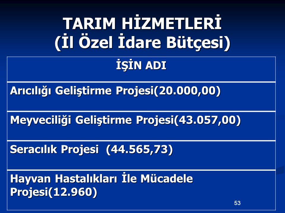 TARIM HİZMETLERİ (İl Özel İdare Bütçesi) İŞİN ADI Arıcılığı Geliştirme Projesi(20.000,00) Meyveciliği Geliştirme Projesi(43.057,00) Seracılık Projesi