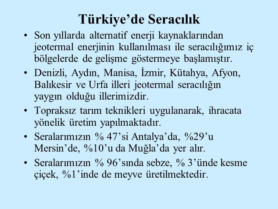 Türkiye'de Seracılık Son yıllarda alternatif enerji kaynaklarından jeotermal enerjinin kullanılması ile seracılığımız iç bölgelerde de gelişme gösterm