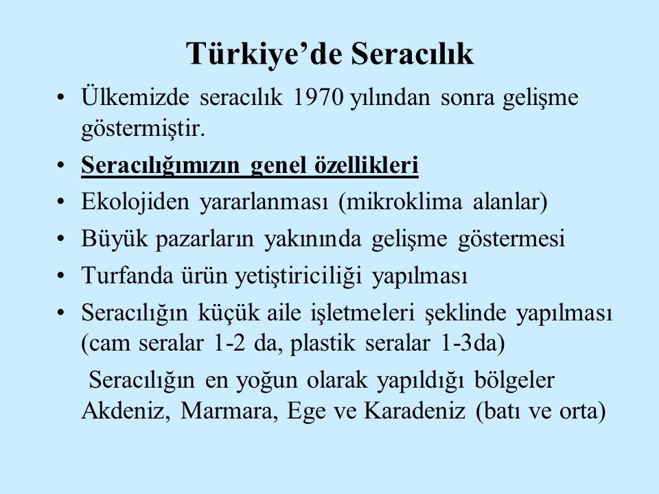 Türkiye'de Seracılık Ülkemizde seracılık 1970 yılından sonra gelişme göstermiştir. Seracılığımızın genel özellikleri Ekolojiden yararlanması (mikrokli