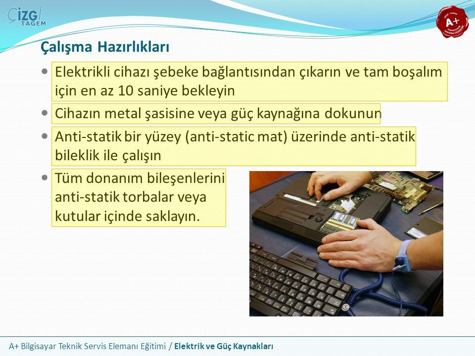 A+ Bilgisayar Teknik Servis Elemanı Eğitimi / Elektrik ve Güç Kaynakları Elektrikli cihazı şebeke bağlantısından çıkarın ve tam boşalım için en az 10
