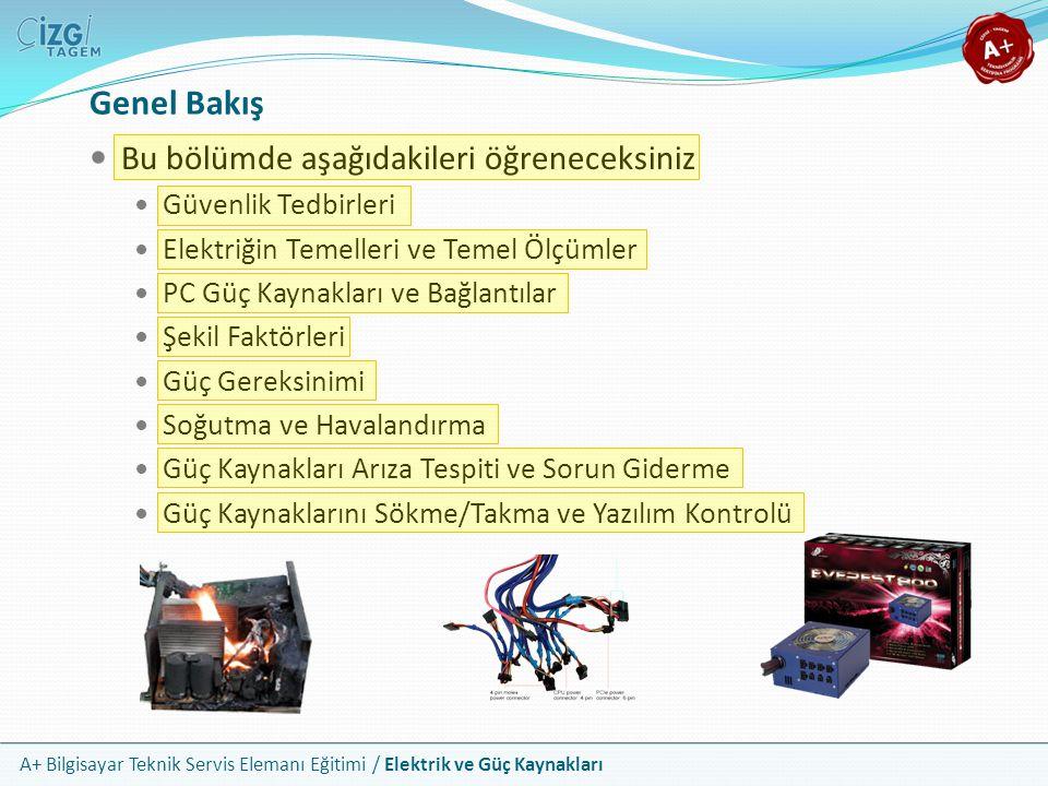 A+ Bilgisayar Teknik Servis Elemanı Eğitimi / Elektrik ve Güç Kaynakları Bu bölümde aşağıdakileri öğreneceksiniz Güvenlik Tedbirleri Elektriğin Temell
