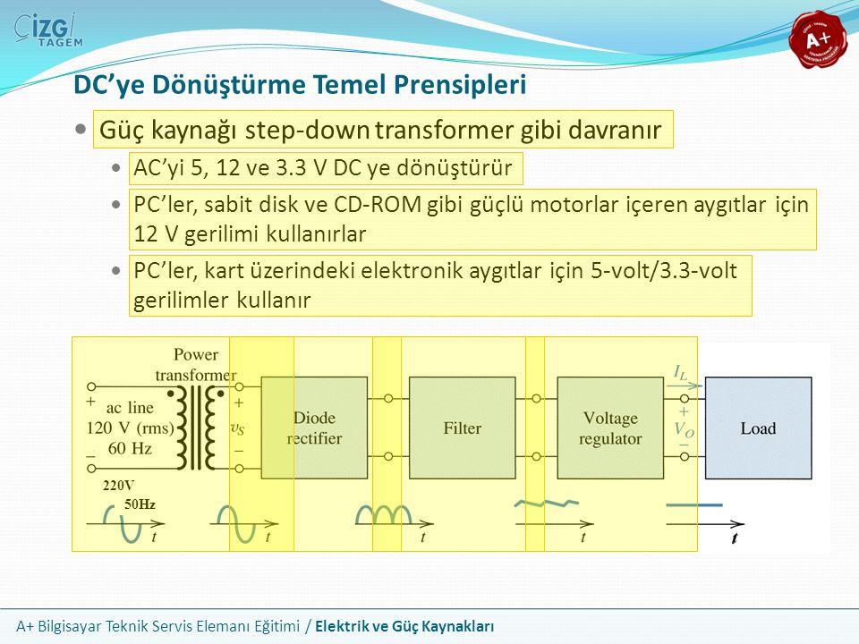 A+ Bilgisayar Teknik Servis Elemanı Eğitimi / Elektrik ve Güç Kaynakları DC'ye Dönüştürme Temel Prensipleri 220V 50Hz Güç kaynağı step-down transforme