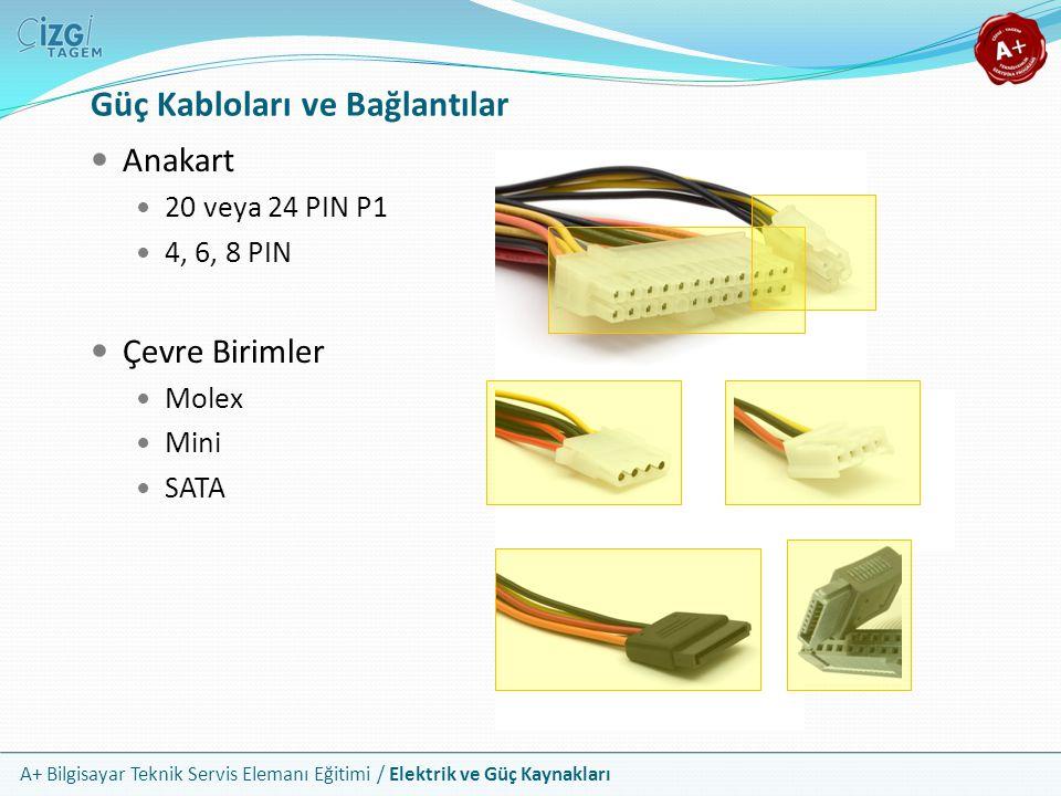 A+ Bilgisayar Teknik Servis Elemanı Eğitimi / Elektrik ve Güç Kaynakları Anakart 20 veya 24 PIN P1 4, 6, 8 PIN Çevre Birimler Molex Mini SATA Güç Kabl