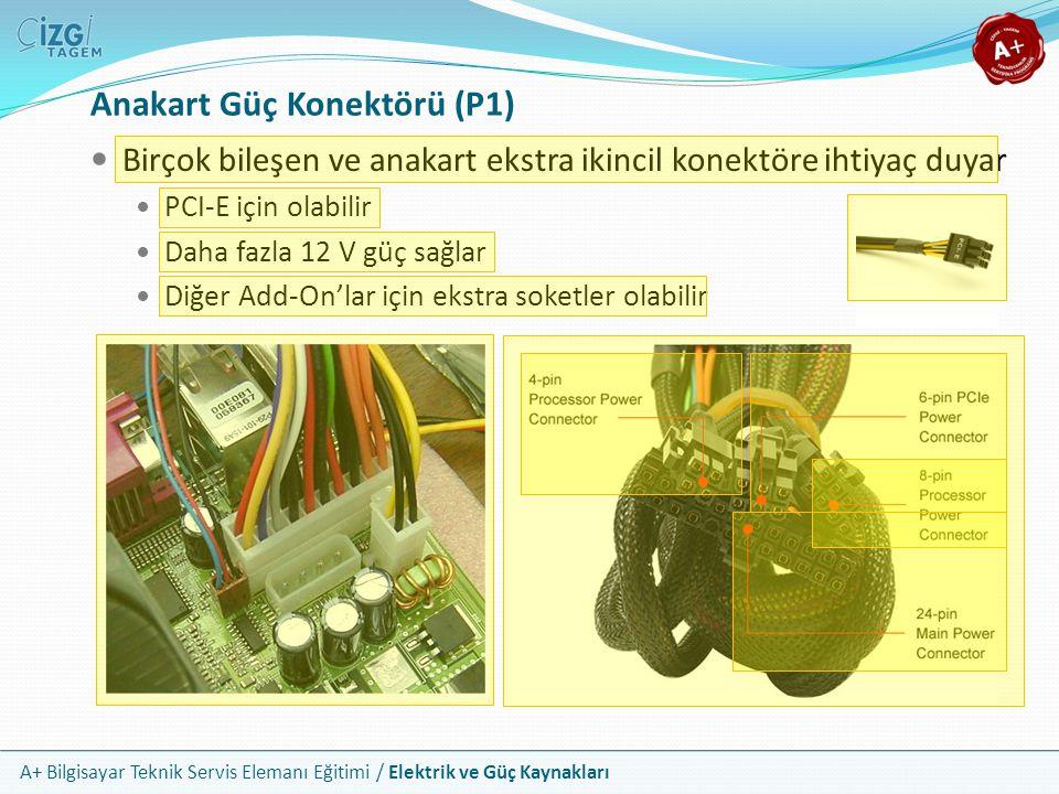 A+ Bilgisayar Teknik Servis Elemanı Eğitimi / Elektrik ve Güç Kaynakları Birçok bileşen ve anakart ekstra ikincil konektöre ihtiyaç duyar PCI-E için o
