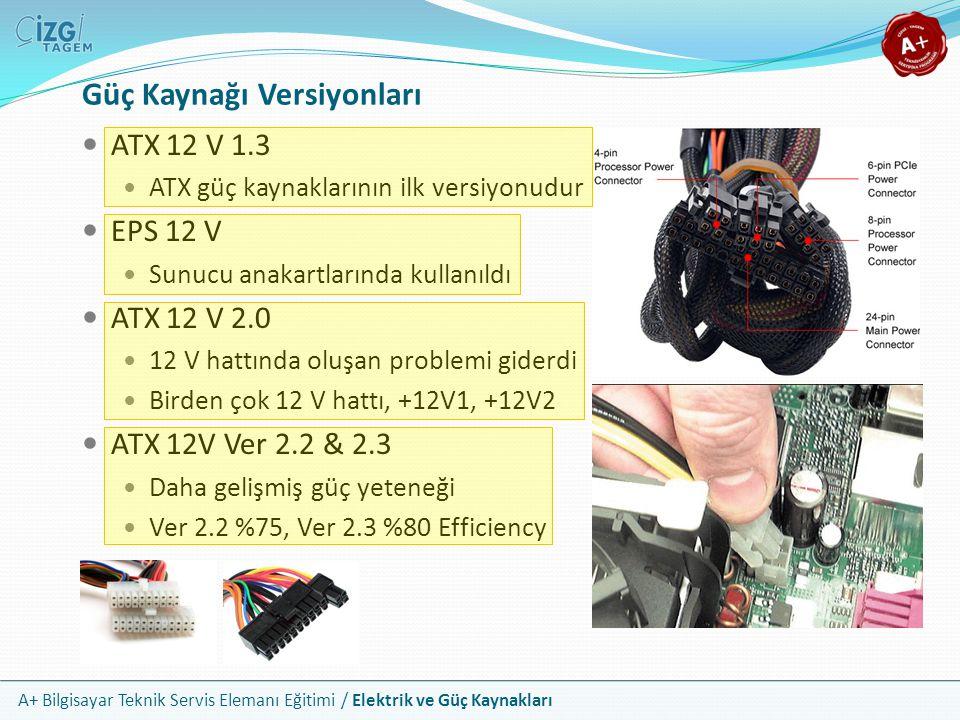 A+ Bilgisayar Teknik Servis Elemanı Eğitimi / Elektrik ve Güç Kaynakları ATX 12 V 1.3 ATX güç kaynaklarının ilk versiyonudur EPS 12 V Sunucu anakartla